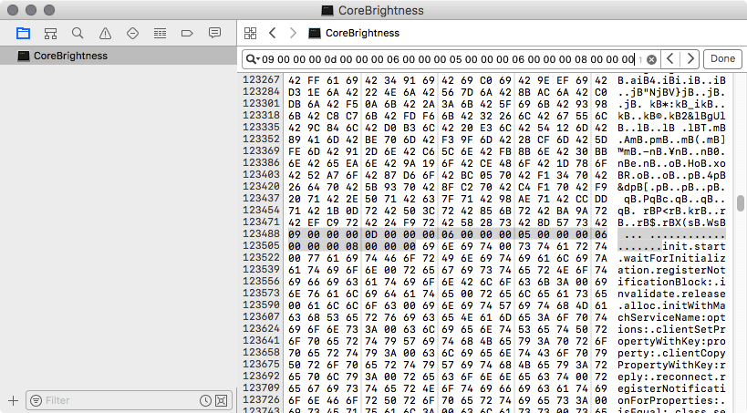XcodeでCoreBrightnessを開いた状態