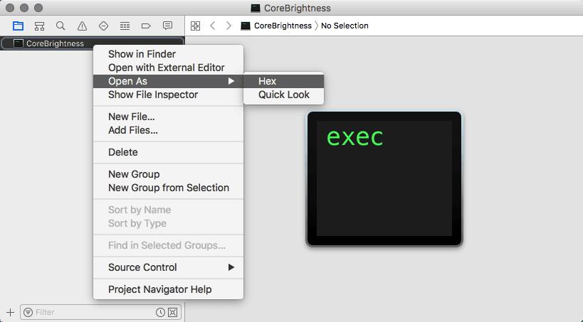 Xcode Hexとして開く