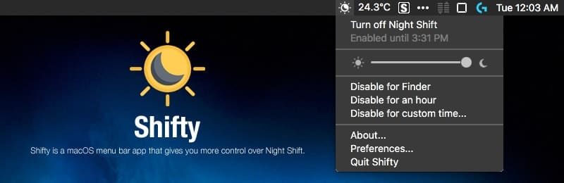 Night Shift機能をメニューバーから操作「Shifty」