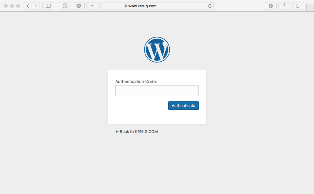 WordPress 2段階認証 ワンタイムパスワード 入力画面