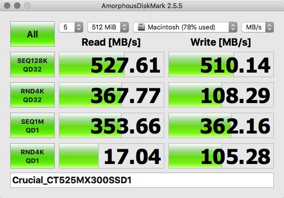 Crucial 2.5インチ MX300 525GB ベンチマーク