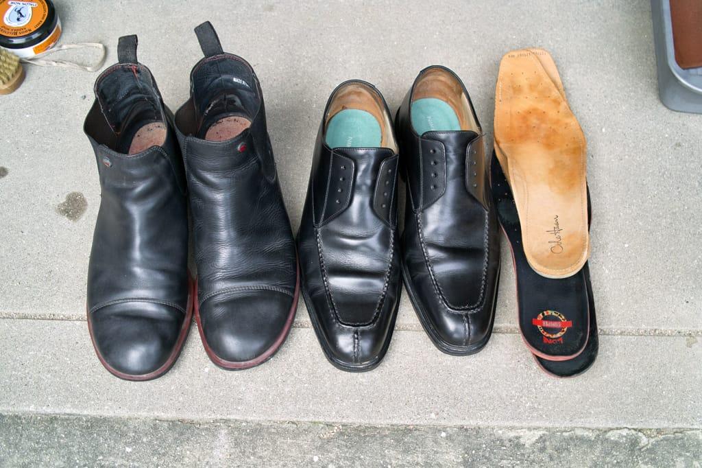 コールハーンとカンペールの靴をサドルソープで丸洗いした後の画像